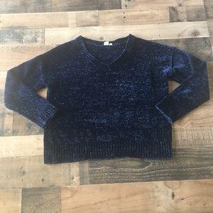 GAP Navy Chenille V-Neck Boxy Knit Sweater Large